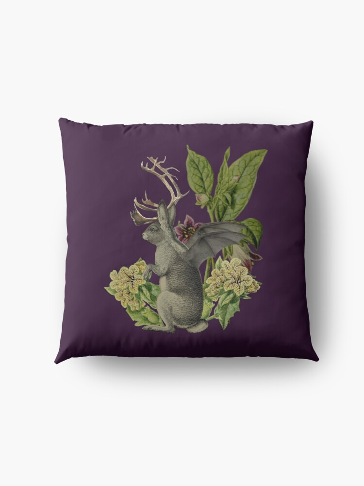 Alternate view of Jackalope Vespertilio (purple) Floor Pillow