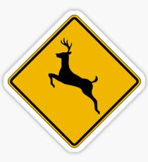 Pegatina Deer Crossing, Road Sign, USA