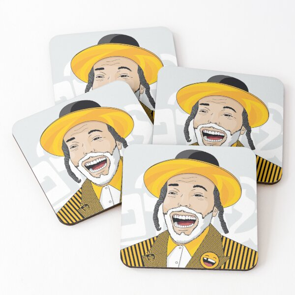I can laugh - funny, smile | Modern and original jewish art Coasters (Set of 4)