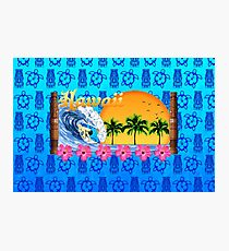 Hawaiian Surfing Blue Tiki Photographic Print