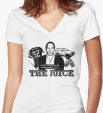 Sketchy OJ! Women's Fitted V-Neck T-Shirt