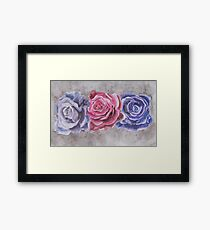 Purple and Red Watercolor Roses  Framed Print