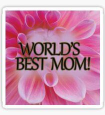 Pink Flower World's Best Mom Sticker