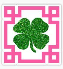 Four Leaf Clover Glitter Greek Key Pink Sticker