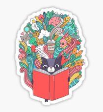 Cat reading a book. Sticker