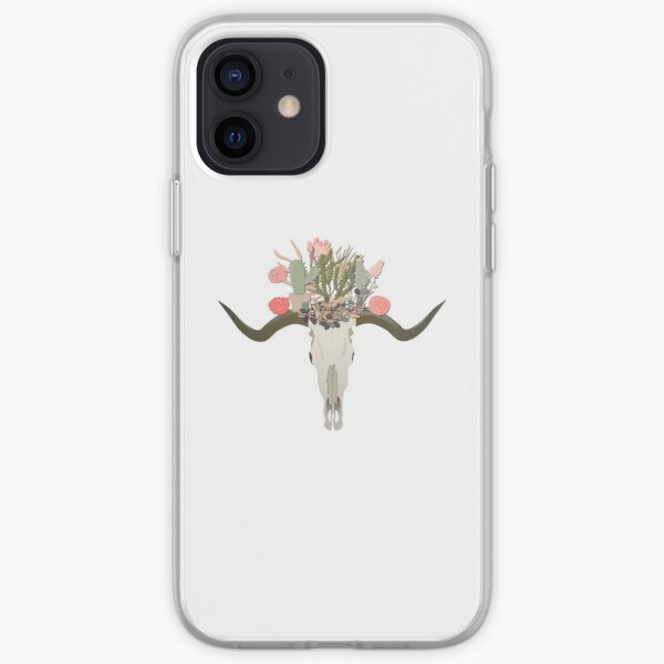 Bull Skull With Cacti Crown - Hand Painted Watercolor iPhone Soft Case