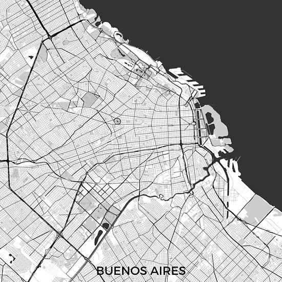 Buenos Aires Stadtplan Grau von HubertRoguski