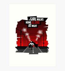 A Girl Walks Home Alone At Night Art Print