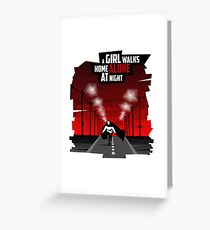 A Girl Walks Home Alone At Night Greeting Card