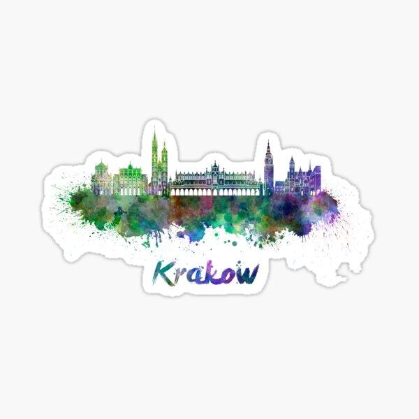 Krakow skyline in watercolor Sticker