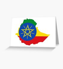 flag map of ethiopia Greeting Card