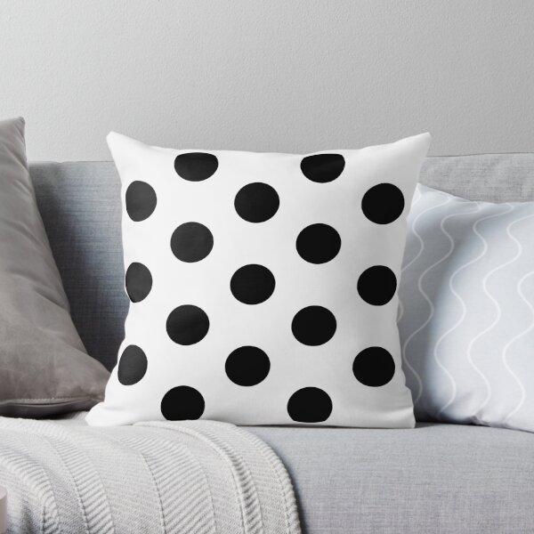 Large BLACK & WHITE POLKA DOTS Throw Pillow