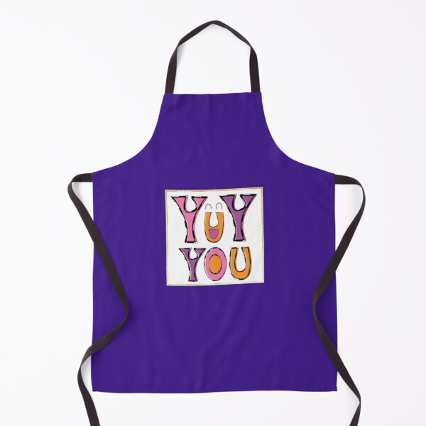 Yay You Happy Face Typography Upside Down Letter A in Pink Purple Apron