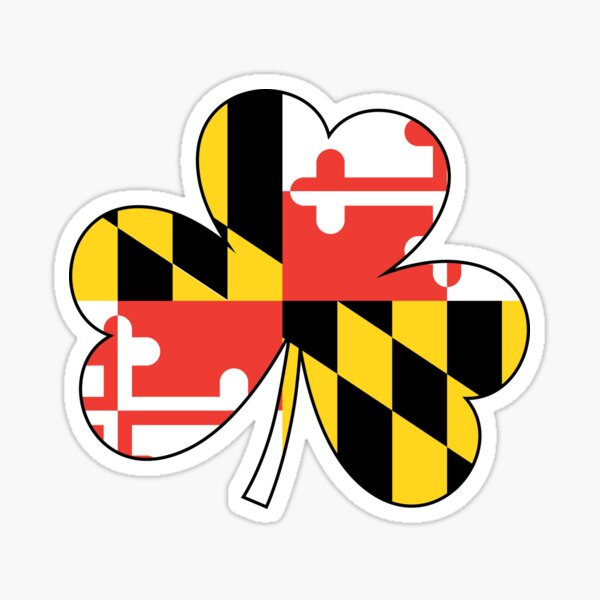Maryland Flag Four Leaf Clover Sticker