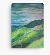 Green Hills Oil Pastel Drawing Canvas Print