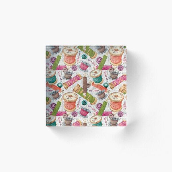 I Am Crafty Pattern Acrylic Block