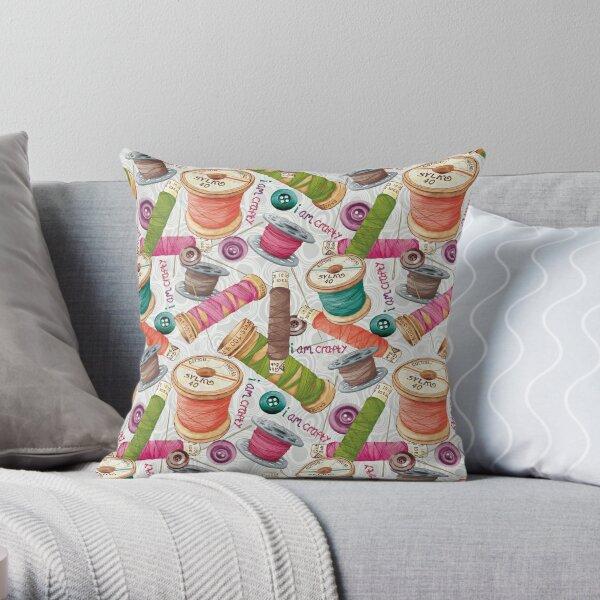 I Am Crafty Pattern Throw Pillow