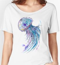 Jelly fish watercolor and ink painting Women's Relaxed Fit T-Shirt