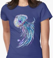 Jelly fish watercolor and ink painting Women's Fitted T-Shirt