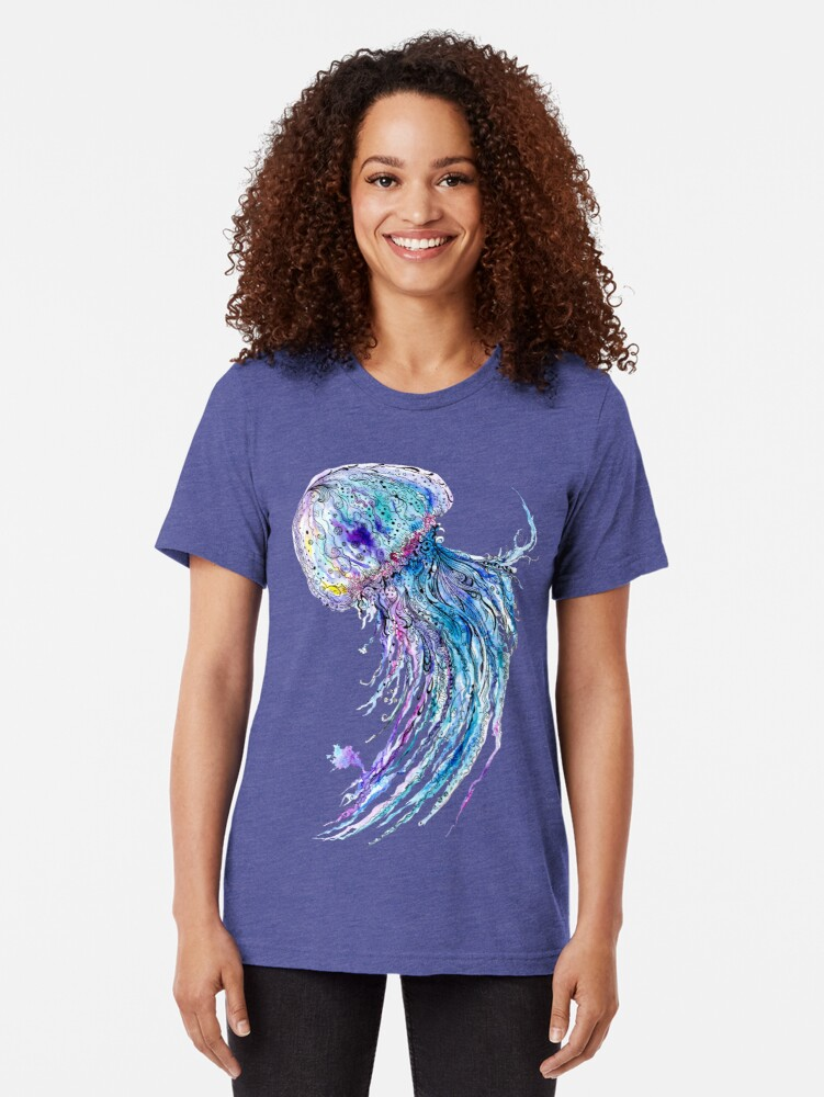 Alternate view of Jelly fish watercolor and ink painting Tri-blend T-Shirt