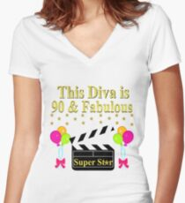 90 YEAR OLD MOVIE STAR Womens Fitted V Neck T Shirt