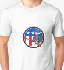 American Revolutionary Soldier USA Flag Circle Cartoon Unisex T-Shirt