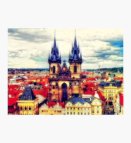 Prague Church Of Our Lady Before Tyn Watercolor Photographic Print