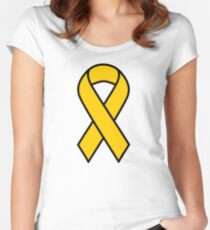 Gold Childhood Cancer Ribbon Women's Fitted Scoop T-Shirt