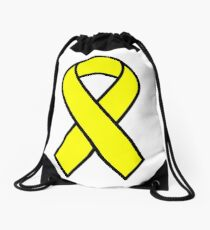 Yellow Support The Troops Ribbon Drawstring Bag