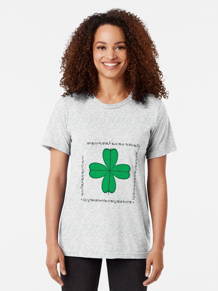Alternate view of Mathematical four-leaf clover  Tri-blend T-Shirt