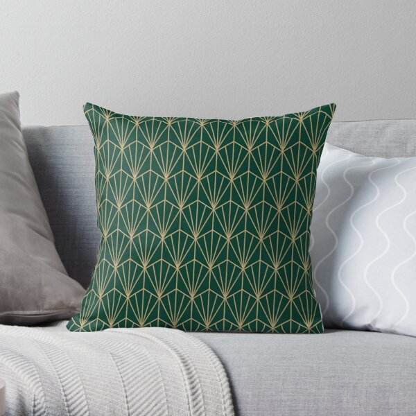 Art Deco in Green and Gold Throw Pillow