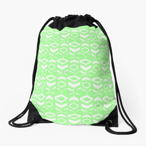 White flower pattern with green background Drawstring Bag