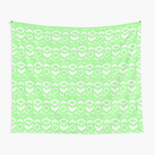 White flower pattern with green background Tapestry