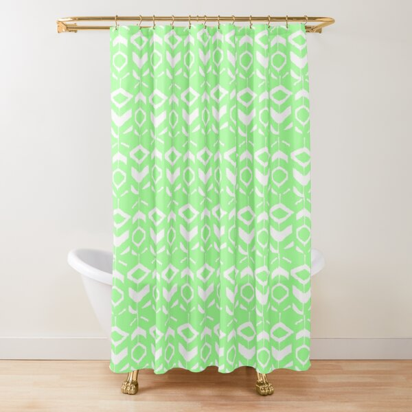 White flower pattern with green background Shower Curtain