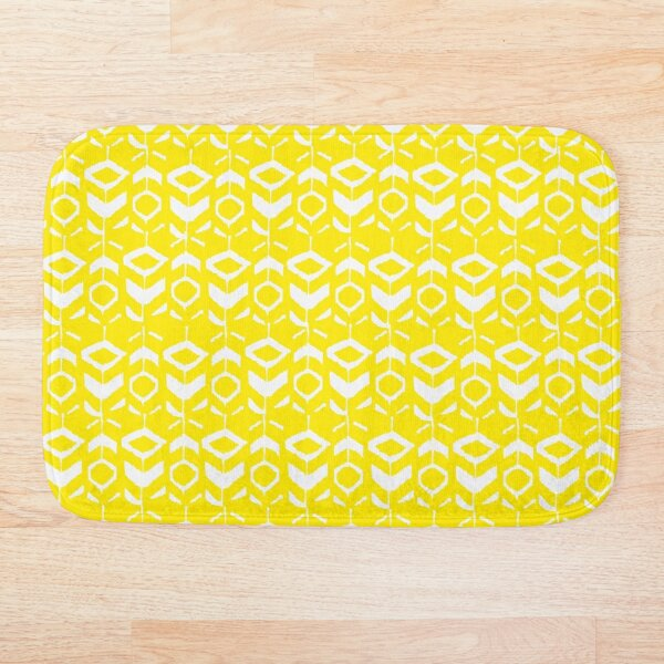 White flower pattern with yellow background Bath Mat