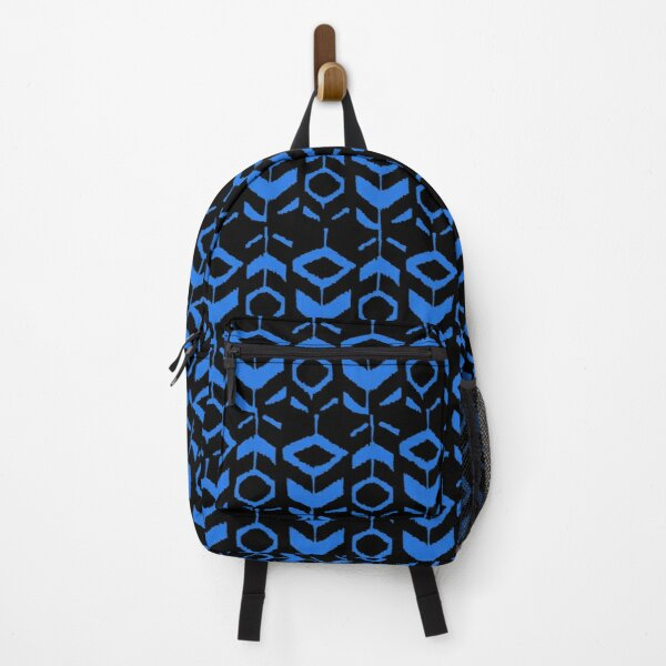 Blue flower pattern with black background Backpack