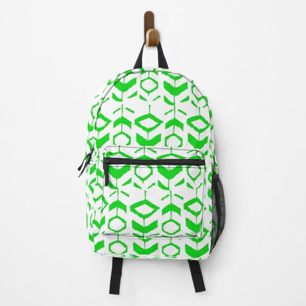 Green flower pattern with white background Backpack