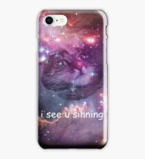 Space cat sees you sinning iPhone Case/Skin
