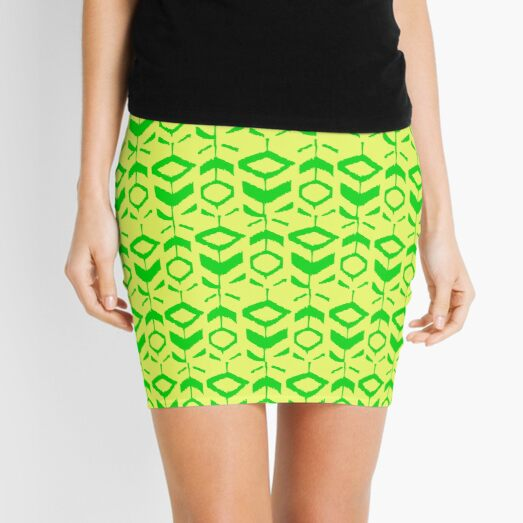 Green flower pattern with with yellow background Mini Skirt