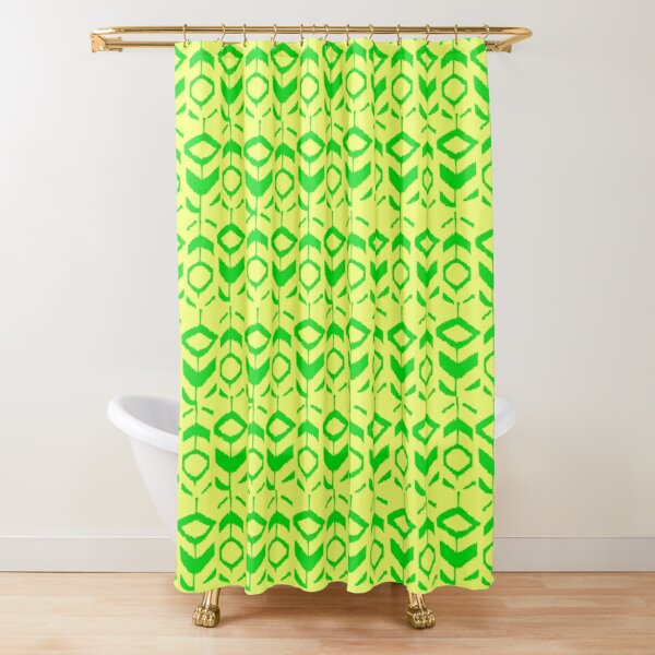 Green flower pattern with with yellow background Shower Curtain
