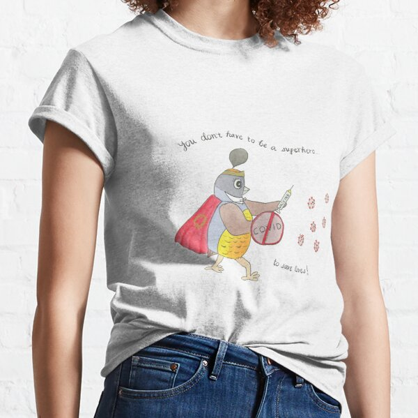 COVID Vaccine Quail Watercolor Classic T-Shirt