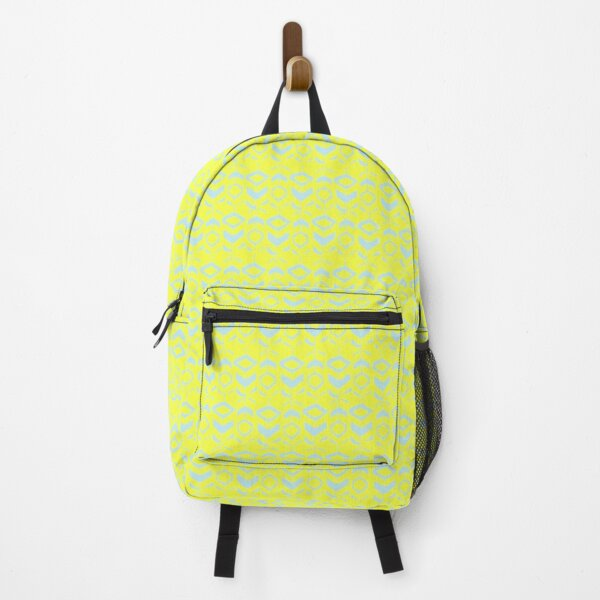 Light blue flower pattern on a yellow background Backpack