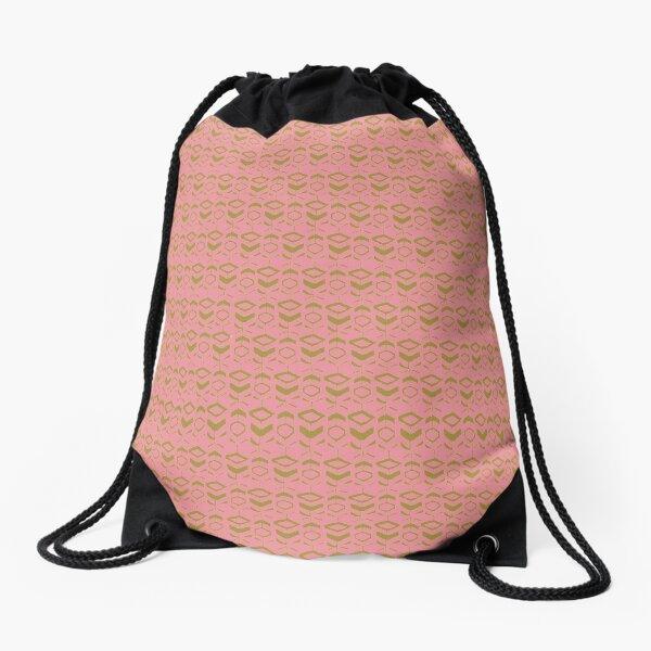 Pattern khaki flowers with pink background Drawstring Bag