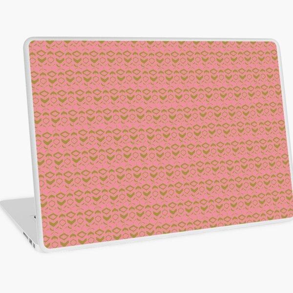 Pattern khaki flowers with pink background Laptop Skin