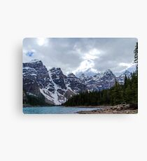 Moraine Lake Nestled In The Valley Of The Ten Peaks - Banff National Park Canvas Print