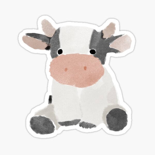 watercolor cow b&w Sticker