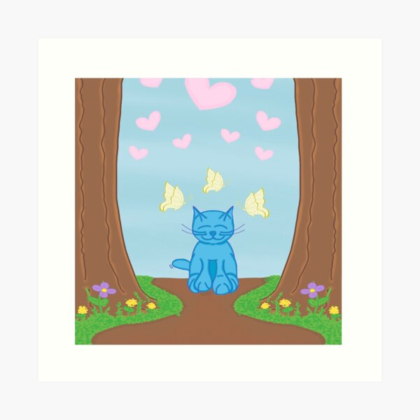 Milo Blue Cat In The Forest With Butterfly Friends Cartoon Art Print