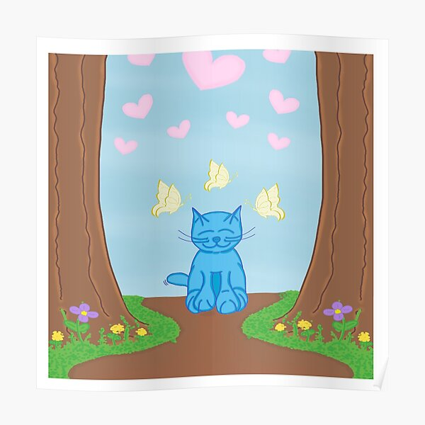 Milo Blue Cat In The Forest With Butterfly Friends Cartoon Poster