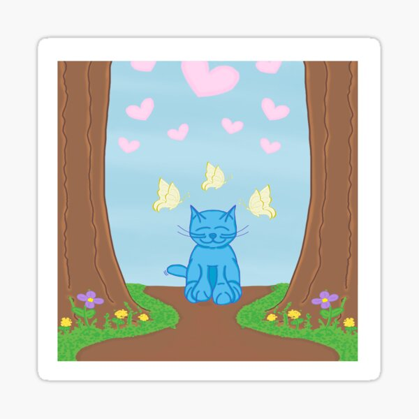 Milo Blue Cat In The Forest With Butterfly Friends Cartoon Sticker