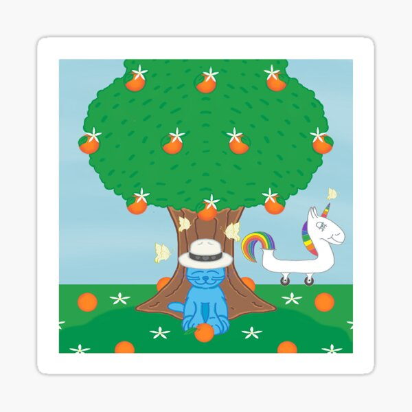 ❤️ Milo Blue Cat Under Orange Tree (With Unicorn & Butterflies) Cartoon Sticker